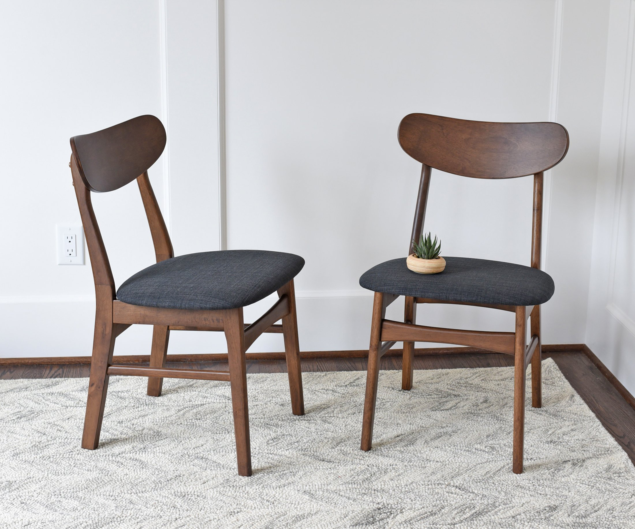 9e06442d6203 Get Quotations · Mid Century Modern Dining Chairs SET OF 2 by Edloe Finch -  Upholstered, Dark Grey