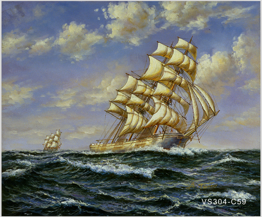 VS304-G3 Handmade Warship Oil Painting on Canvas