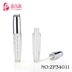 Custom label plastic round tube refill packaging cosmetic bottle lip gloss with brush