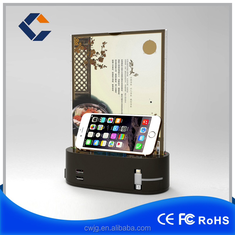 Coffee Shop Hotel Use Restaurant Menu Power Bank with wooden mobile phone holder