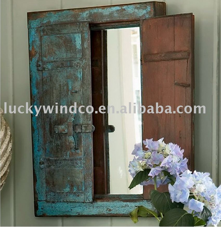 Shabby Chic Vintage Wooden Decoration Framed Window Mirror - Buy ...