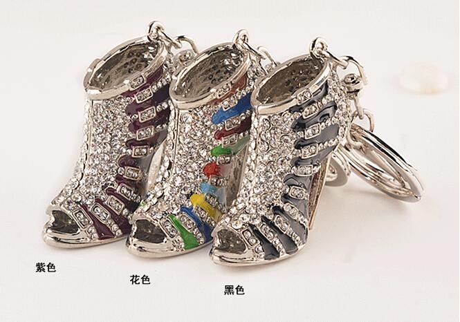 Rhinestone High Heel Pendant Charm Keyring Keychain Gold+Mutil Color