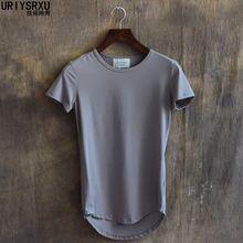 100% 2015 Breve Algodão Fino T Camisa Curviplanar Varredura Irregular O Pescoço T-shirts de Manga Curta Masculina