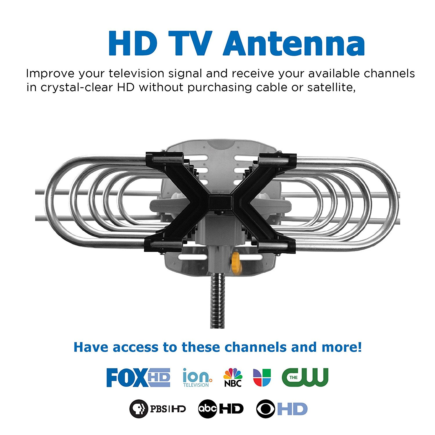 150 Miles Range Outdoor Amplified 360 Degree Remote-Controlled Rotatable digital TV Aerials Antenna