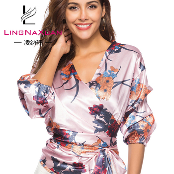 New Products Polyester Tie Digital Printing V Neck Blouse ladies plus size blouses & tops for women