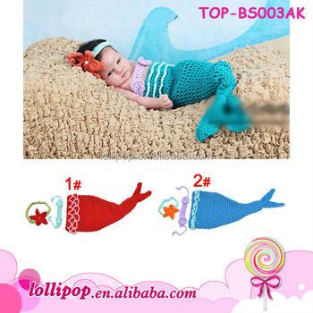 2016 Newborn Baby Mermaid Costume Crochet Baby Sleeping Bag Animal