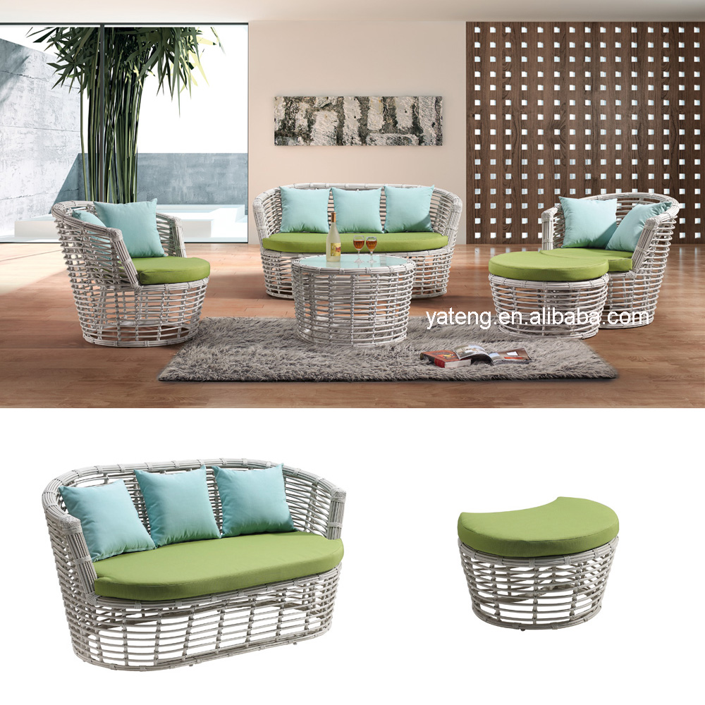 Leisure Indoor Outdoor Synthetic Rattan Sectional Sofa With Seat