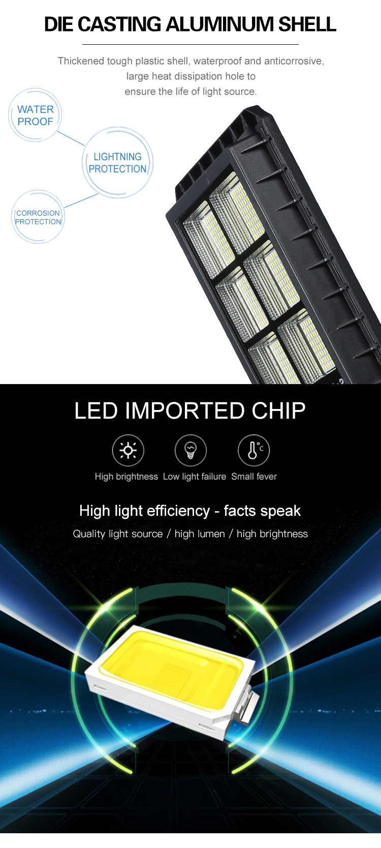 High lumen high working efficiency ip65 waterproof 60watt 80watt 120watt solar led street light