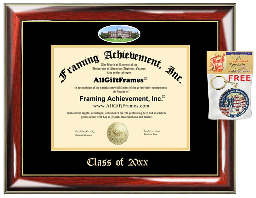 AllGiftFrames Custom Diploma Frame Embossed Loyola University of New Orleans College Best Graduation Loyola Degree Frame Double Mat Campus LOYNO Fisheye Picture Cheap Gift