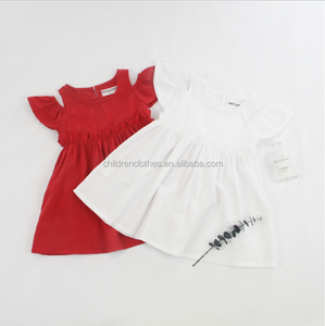 Plain Color Casual Dress Ruffle Boutique Remake Clothes Girl Dresses