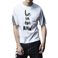 100%combed cotton print t-shirt with decoration three line strips men's street tshirt