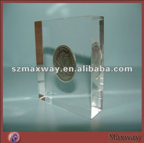 Clear Acrylic Desk Coin Organic Glass Paper Weight