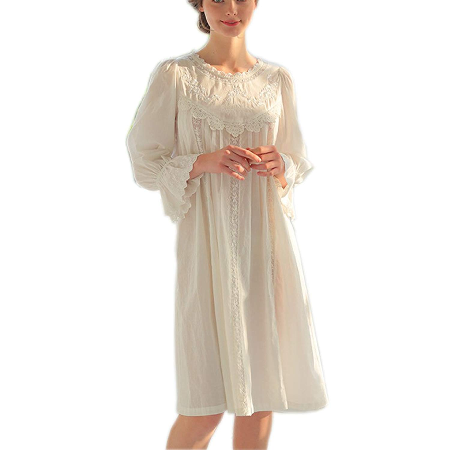 d0fbe81319 Get Quotations · Singingqueen Womens  White Cotton Embroidery Vintage  Nightgown Victorian Sleepwear Nightdress Pajamas Loungewear