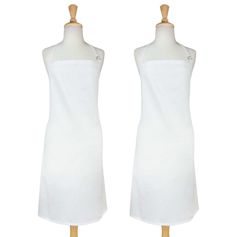 DII 100% Cotton, Professional Bib Chef Apron In Bulk, Unisex Restaurant Kitchen Apron, Durable, Comfortable, Easy Care, Adjustable Neck & Waist Ties, 2-Pack-White