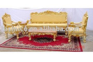 Gold Color Living Room Furniture,European Antique Sofa Sets,Three ...