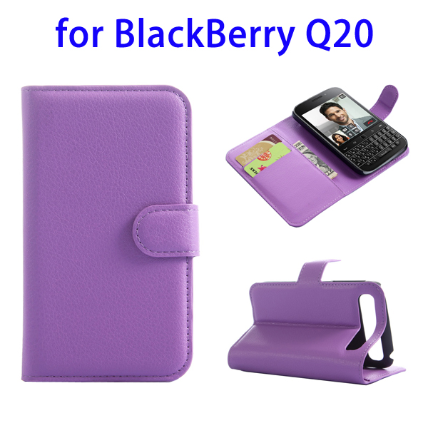 Factory Price with Card Slots Leather Phone Case Cover for BlackBerry Q20