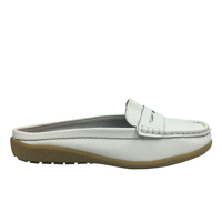 Wholesale White Leather Ladies And Women Loafers Casual Flat Shoes Summer Female Shoes