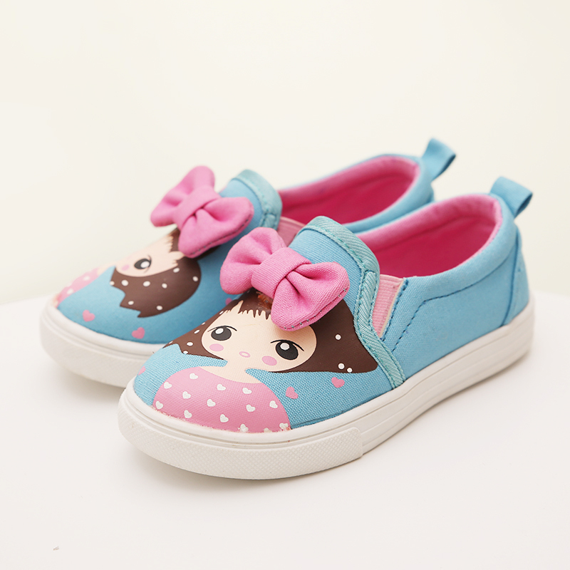 2015 Autumn Style New Soft Bottom Girls Canvas High Quality Girls Sneakers Shoe Fashion Big Bow Kids Canvas Shoes Casual Child