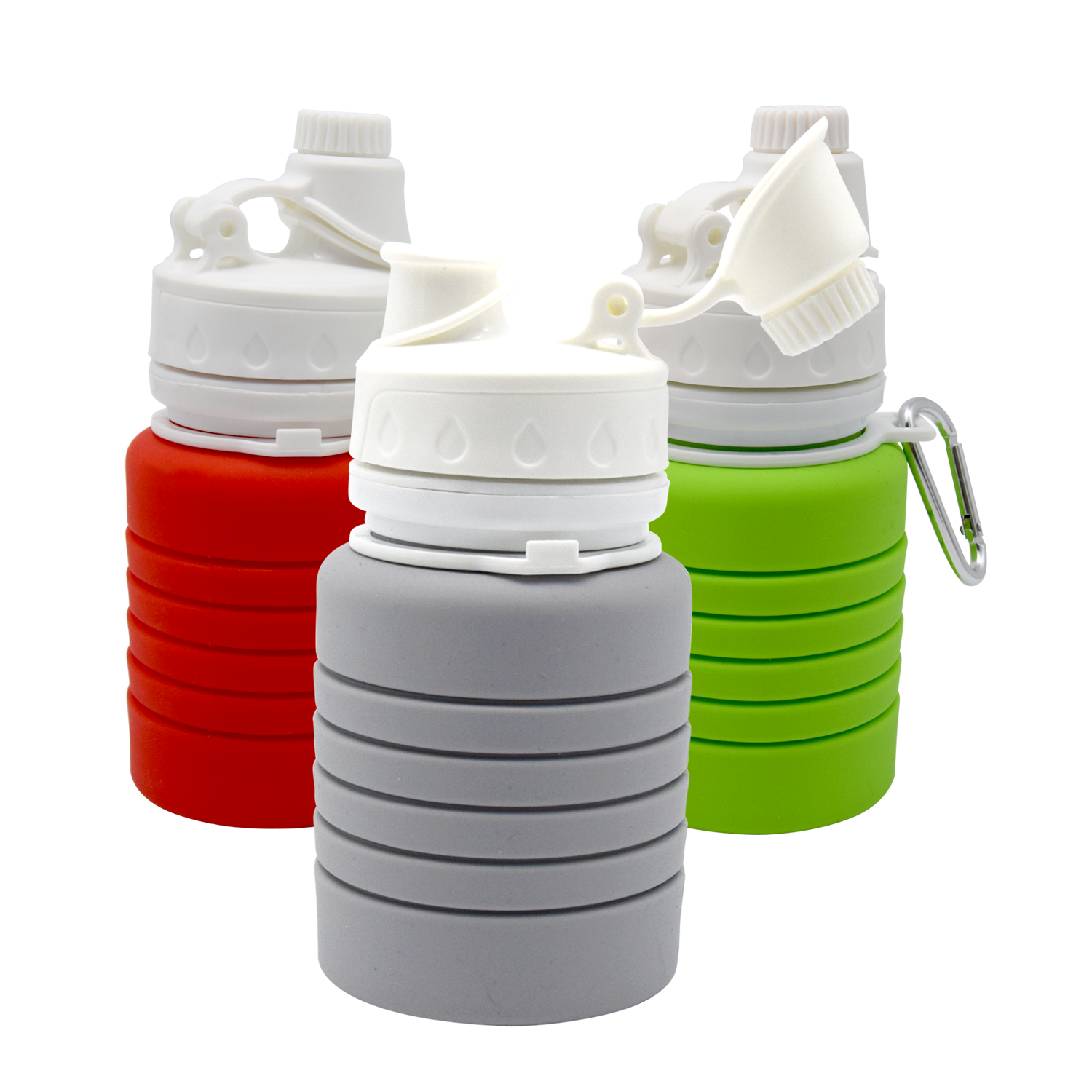 Reusable Folding Silicone Water Bottle  For Outdoor Sport BPA Free