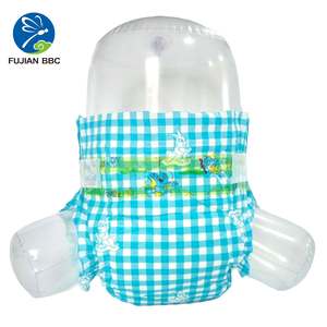 Low price baby diapers disposable sleepy, cute rabbit checkered PE back sheet kids baby free sample diaper nappy with green core