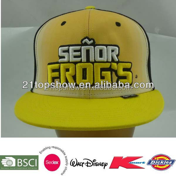 Yellow hip hop style flat cap 3d embroidery