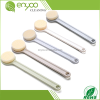 Natural Vented Boar Bristle Body Brush and Face Brush Set for Dry Brushing, Bath and Shower with Long Handle - Exfoliate Skin,