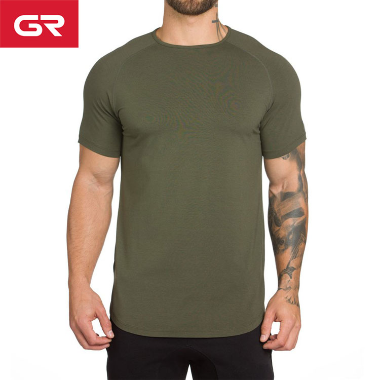 High Quality Scalloped Hem Raglan Short Sleeve Muscle Fit Mens Gym T Shirt