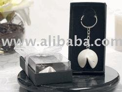 Fortune Cookie Keychain Pearl White w/ Crystal