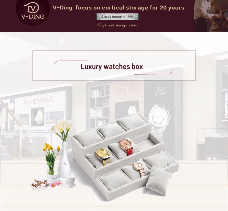 vding from china supplier new premium products 9 high quality velvet watch display box