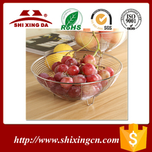 Stainless steel wire fruit basket with net cover