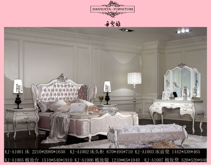 Pink princess velvet bed with wood carving frame