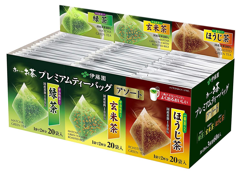 Itoen - Premium Tea Bag Set 60 packs : Ryokucha (Sencha Green tea), Houjicha, Genmaicha per 20 bags