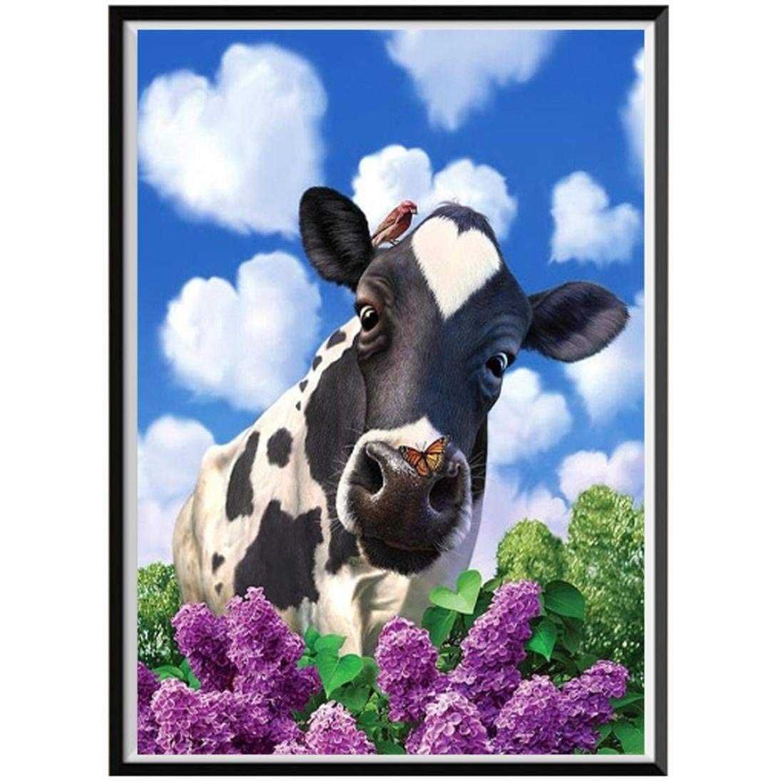 Franterd Lovely Animal - Cows, DIY 5D Diamond Painting Kit, Cross Stitch Craft Kits Rhinestone Embroidery Wall Stickers Pasted Picture Drawing for Living Room Craft Home Wall Decor
