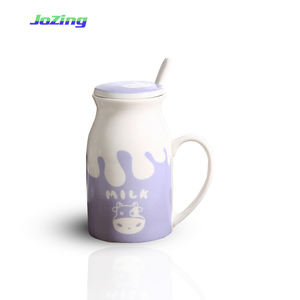 Wholesale Orca Coating Ceramic Water Tea Cow Milk Cup with Spoon and Lid