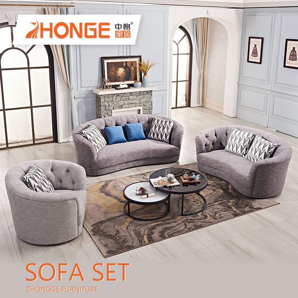 Modern Drawing Room Furniture Gray Couch Sectional Fabric Grey
