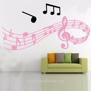 Fashionable modern music stickers easy peel off wall stickers decor