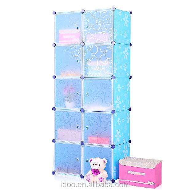 Artesanal Ouro Preto ~ 10 cubos pp armários armário roupeiro armário para guardar brinquedos de plástico azul para