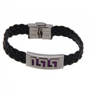 Fashion Jewelry Classic men braided leather bracelet with stainless steel claps