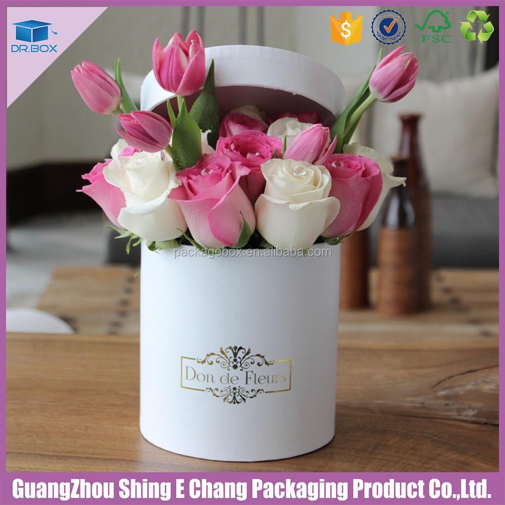 luxury flower paper boxes round gift flowers box with matt