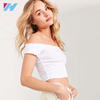 wholesale lady ruffle tube top plain off the shoulder crop top