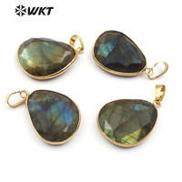 WT-P718 Newest Sparkly gemstone labradorite pendant with gold bezel, fashion high quality natural labradorite pendant
