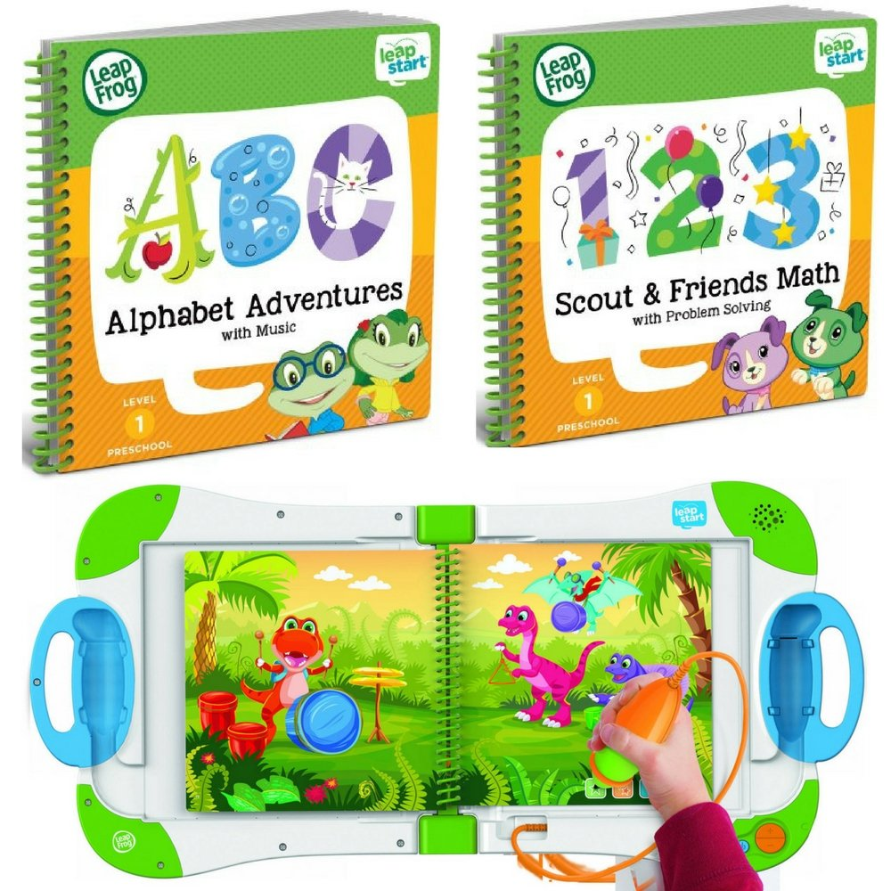 LeapFrog LeapStart Interactive Learning System Preschool and Pre-Kindergarten for Kids Ages 2-4+ Alphabet and Music & Scout & Friends Math Learning Basic Skills Books Fun Activity Bundle Set