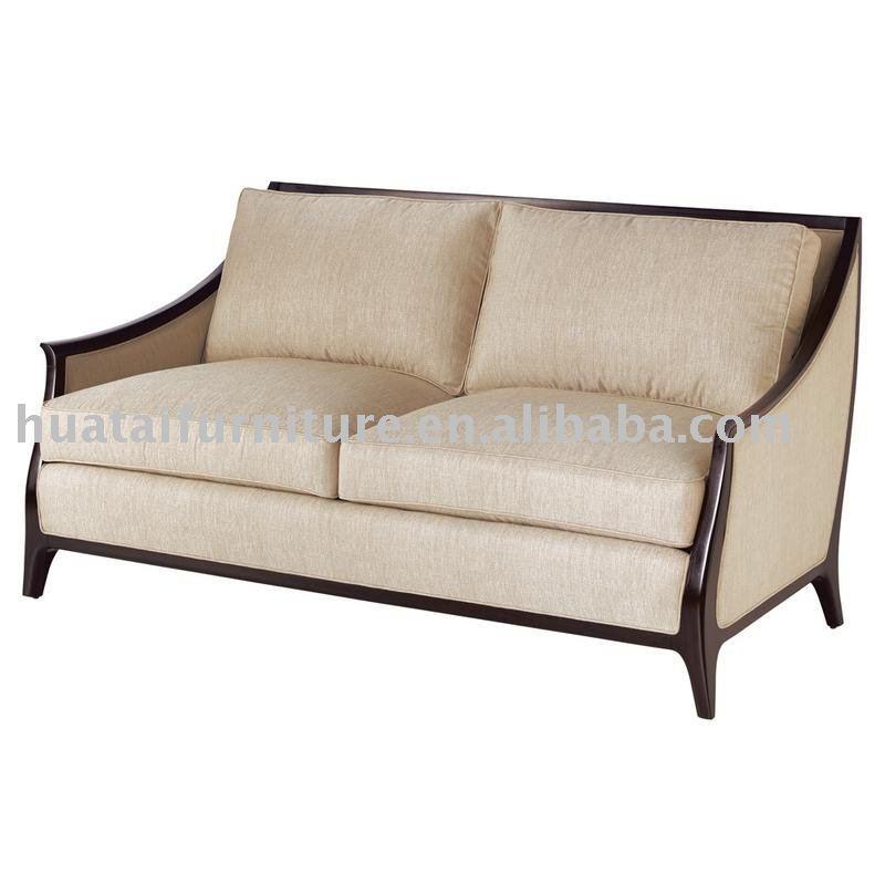 Modern Elegant Wooden Fabric Two Seater Sofa