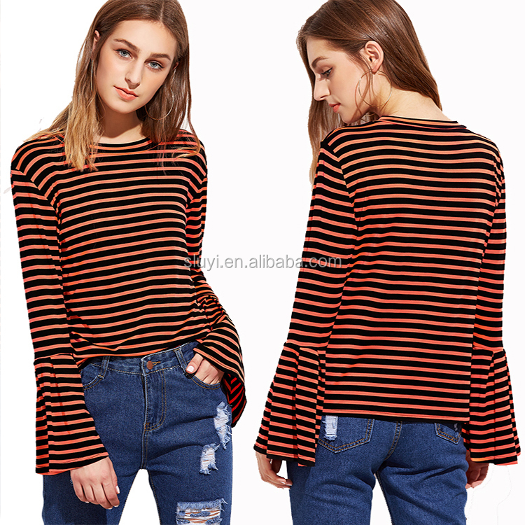 manufacturer custom plain no brand t-shirt 95 cotton /5 elastane t shirts contrast striped bell sleeve t-shirt with long sleeves