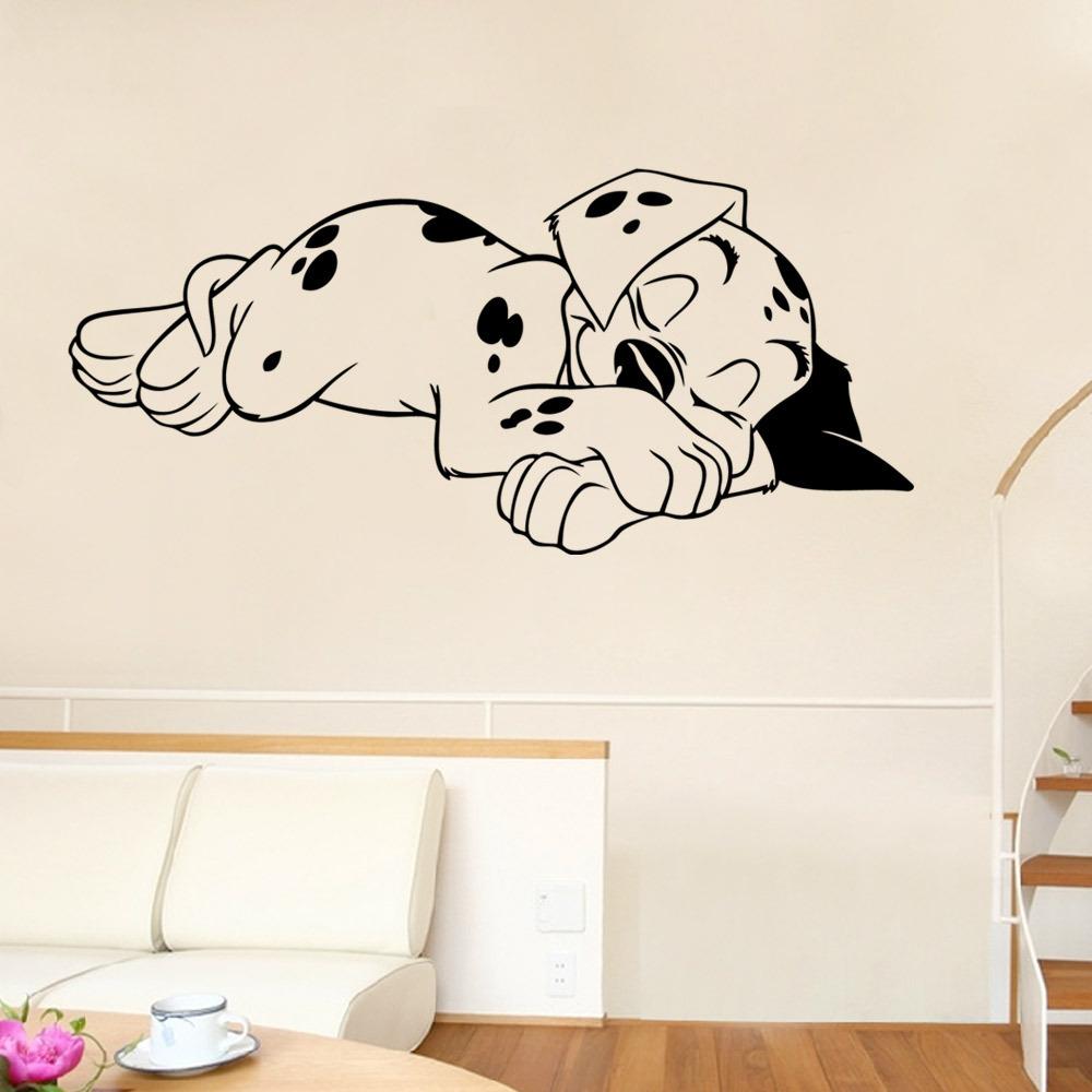 Sleeping dog wall stickers bedroom living room decoration - Removable wall stickers living room ...