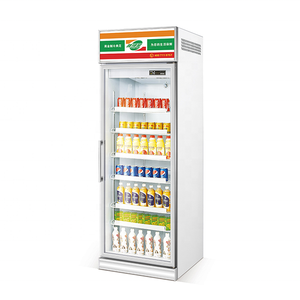 Automatic single glass door upright cooler vegetable refrigerator commercial display freezer for supermarket