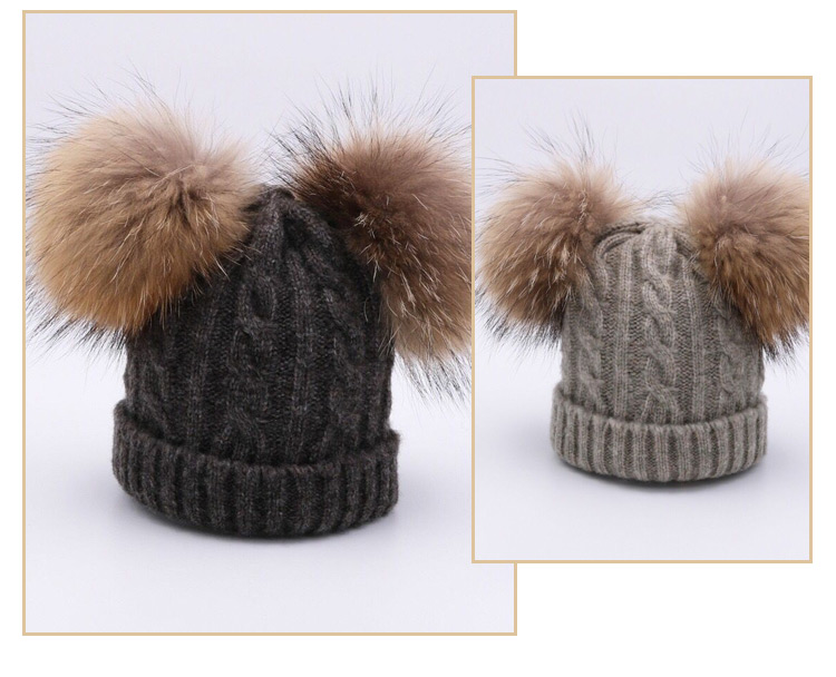 Warm Polar Natural Ball Kids Caps Double Real Fur Pom Fleece Cotton Acrylic Knitted Beanie