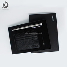 JX-BS100 Amazon supplier wholesale customazied gift set leather card holder fountain pen with cartridge