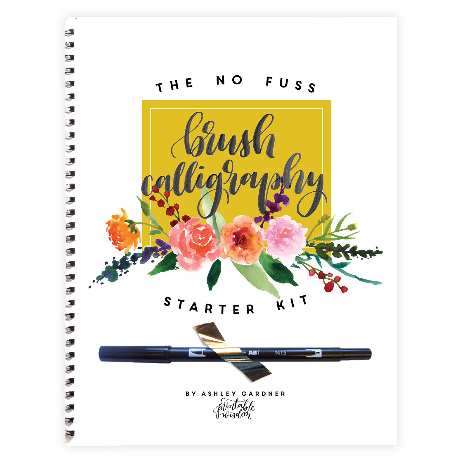 No Fuss Brush Calligraphy Starter Kit, Learn calligraphy for beginners and step by step instructions, calligraphy pen included, learn modern hand lettering, modern calligraphy techniques
