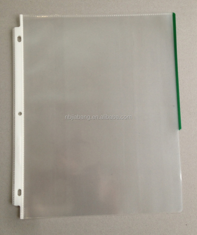 "8.5x11"" punch 3 hole clear pp sheet protector with colored tabs"